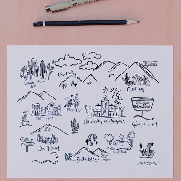 Tucson Icon Map Print