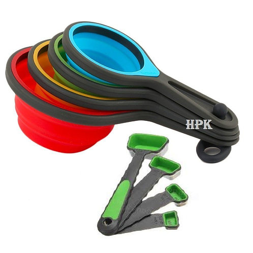 8pcs Silicone Measuring Cups Spoon Set