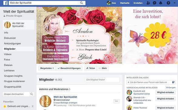 "facebook Gruppe ""Welt der Spiritualität"""