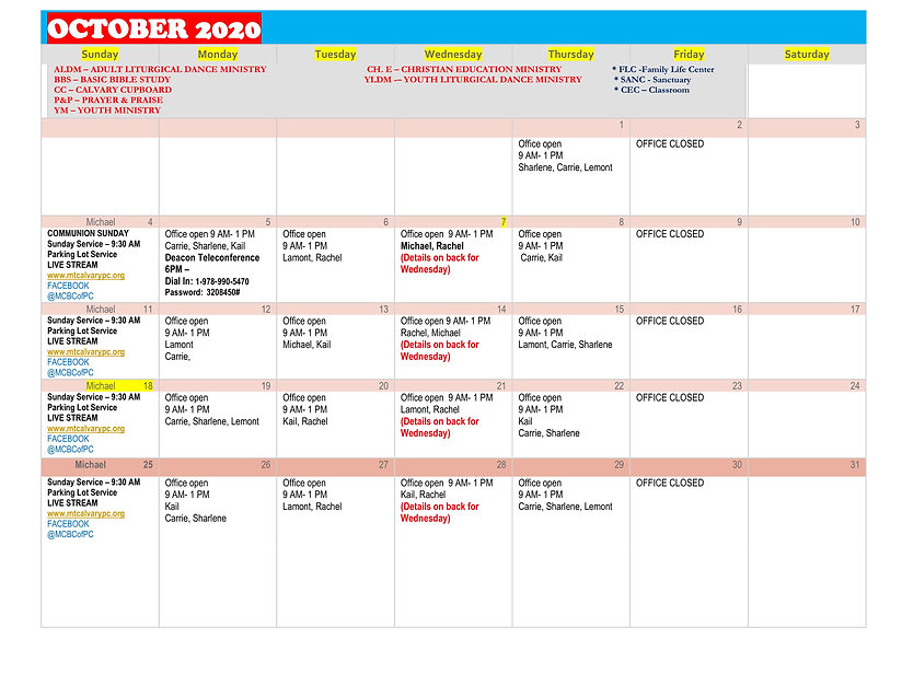 October 2020 Calendar with staff schedul