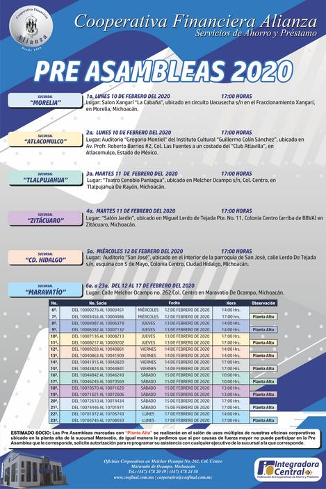 Calendarización Pre Asambleas 2020