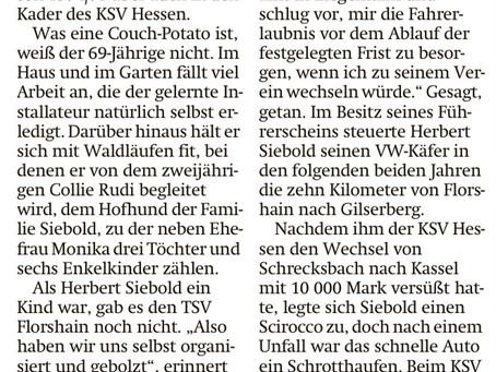 Heute in der HNA - ein sehr schöner Artikel über unseren Sportkameraden Herbert Siebold