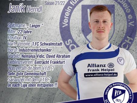 Interview zum Start der neuen Fußball-Kreisliga A - Saison 2021/2022 mit Neuzugang Janik Herndl.