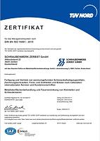 Zertifikat ISO14001 Schaubwerk