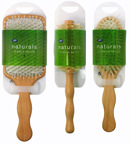 Boots Naturals hairbrush structural packaging design by a.m. associates