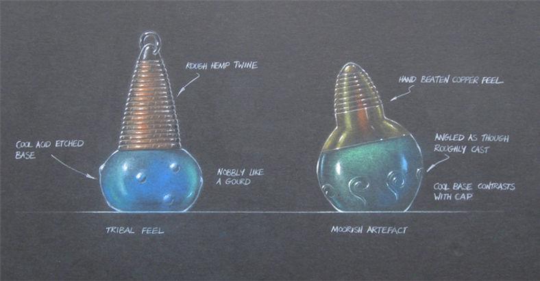 Monsoon fragrance bottle structural packaging design sketch
