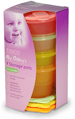 Tesco My Baby's pots structural packaging design by a.m. associates