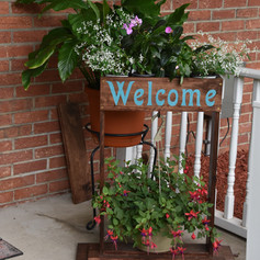 This lovely planter was made by the gardner's son!