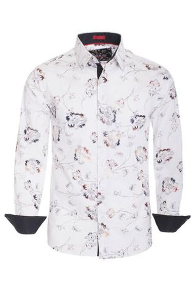 WHITE FLORAL LONG SLEEVE SHIRT
