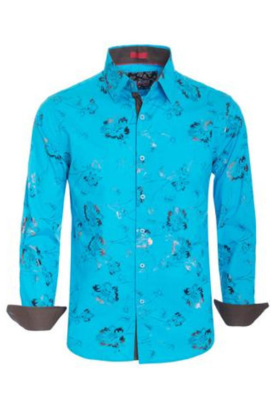 TURQUOISE FLORAL LONG SLEEVE SHIRT