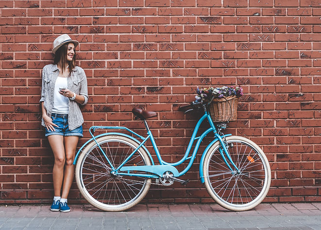 Beauty with vintage bike. Beautiful youn