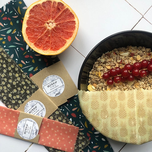 Pack de 3 Beewraps - Taille S, M & L - Emballage alimentaire réutilisable