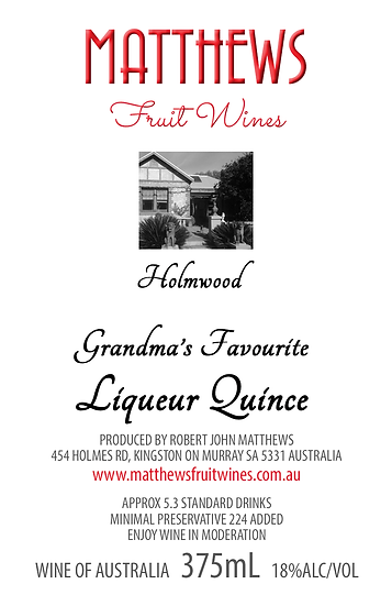 Grandma's LIQUEUR QUINCE 375mL - very limited