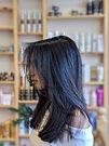 brazilian blow dry, long hair, dark hair