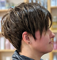 pixie cut, ladies haircut, short hair, highlights