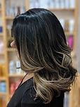 balayage, dark hair, highlights, long hair, layered cut