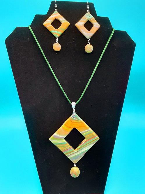 Geometric Multi-Colored Pendant and Matching Earrings