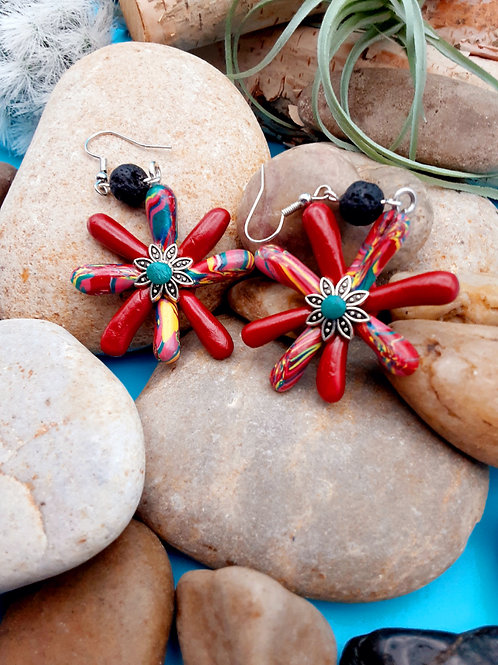 Red Spoked Earrings