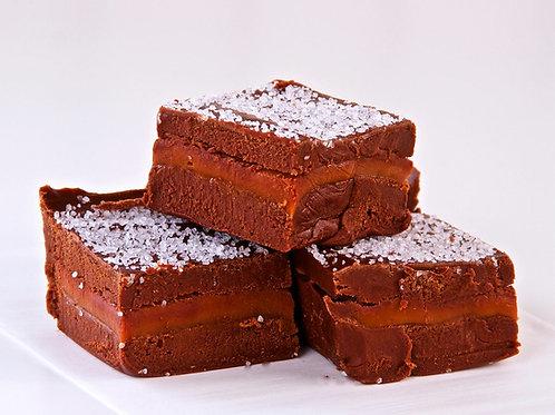 Dark Chocolate Caramel Sea Salt Fudge  (1 Pound)