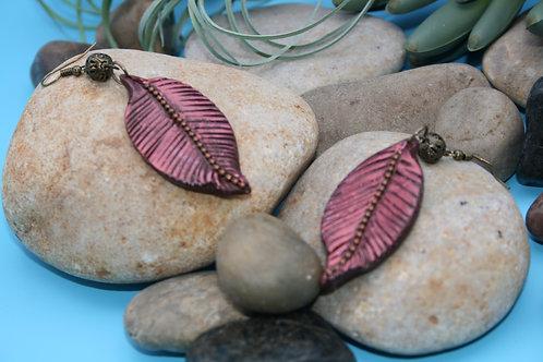 Faux Copper Feather Earrings