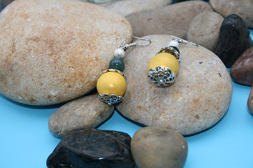 Yellow with Green Bead Earrings