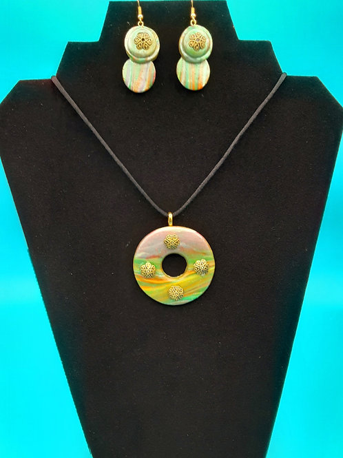 Rainbow Round Donut Pendant with Matching Earrings