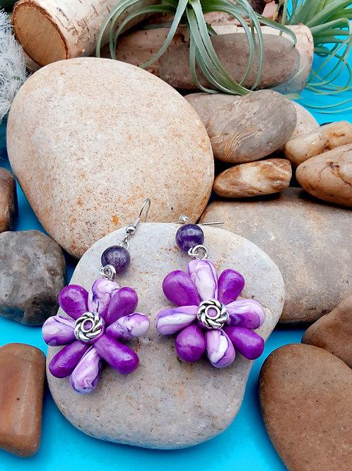 Purple Starburst Earrings