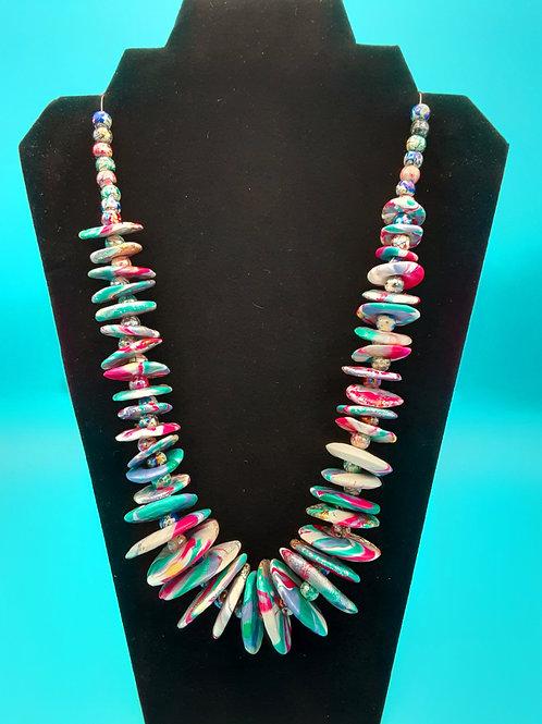 Multi-colored Lentil Beads Necklace