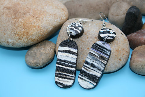 Black and White Textured Earrings