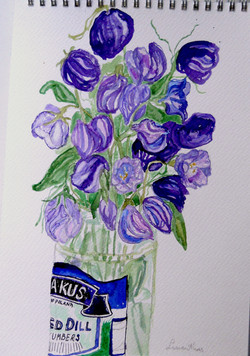 Lisianthus in a Pickle jar