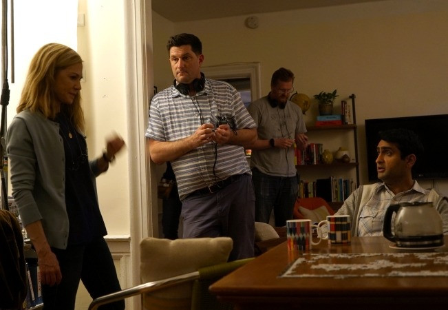 Holly Hunter with director Michael Showalter in The Big Sick