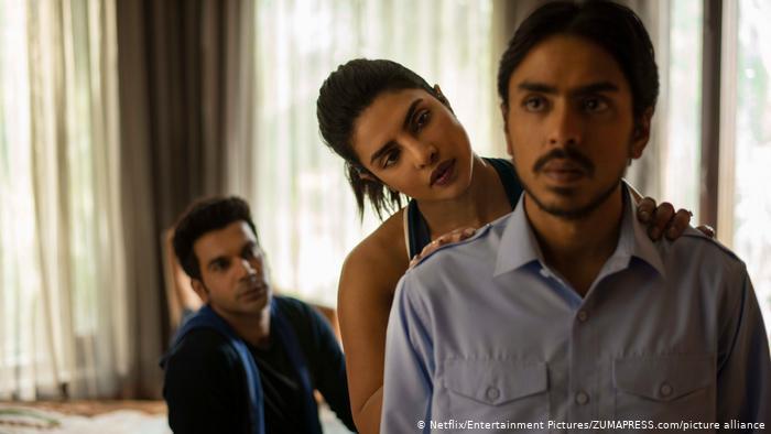 "Rajkummar Rao, Priyanka Chopra Jonas and Adarsh Gourav in ""The White Tiger."""