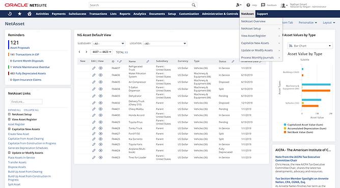 NetSuite Advanced Fixed Asset Dashboard