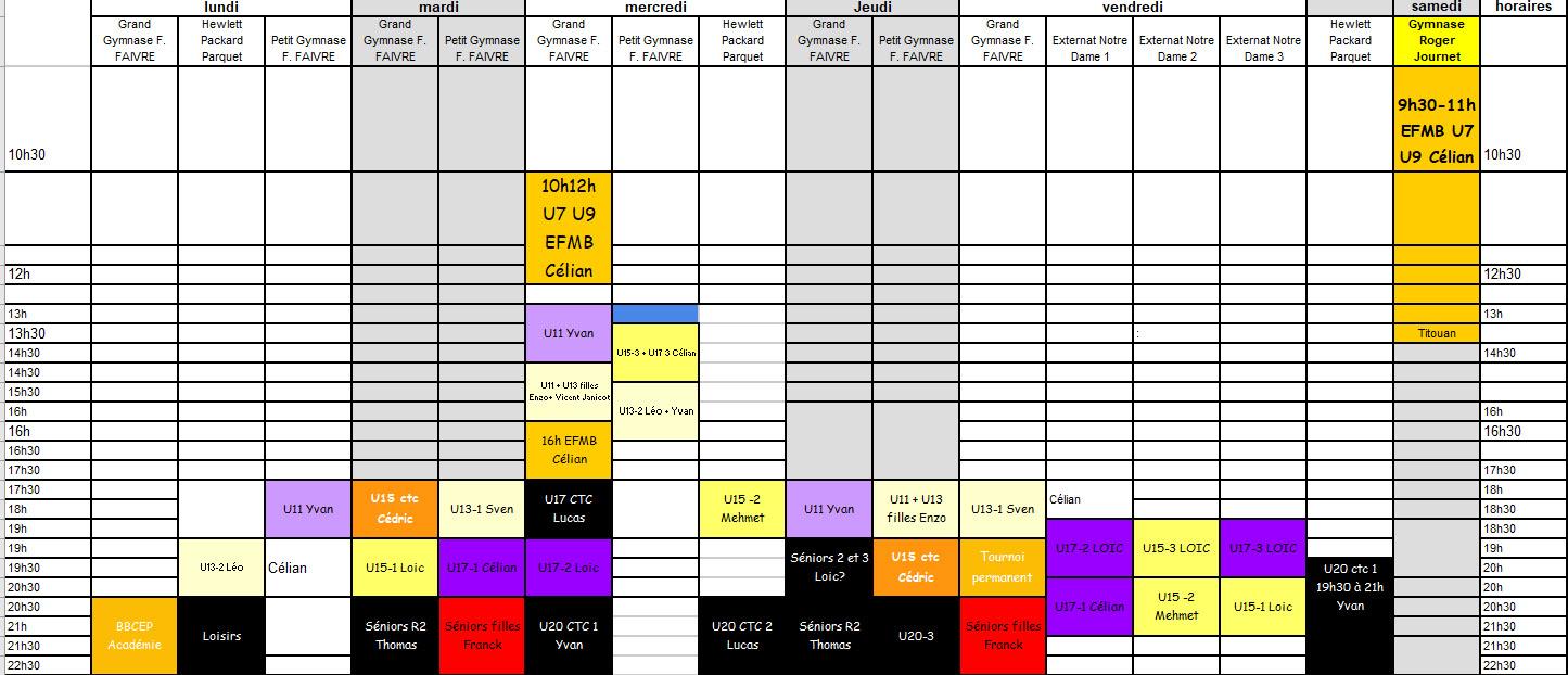 Planning des entraînements 2020-2021