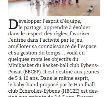 L'Ecole Francaise de Mini Basket (EFMB) à l'honneur dans le journal d'Eybens