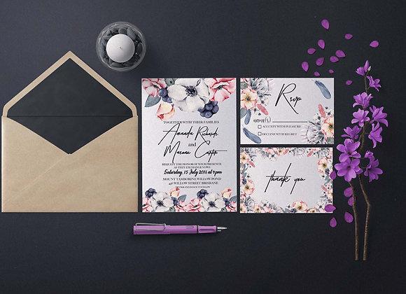 Ice Cream Floral Digital Wedding Invitation Set