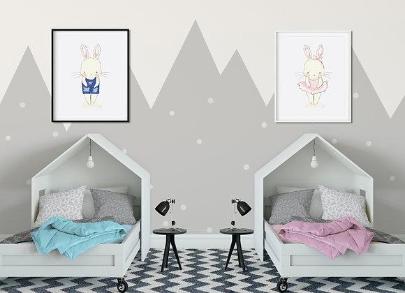 Handrawn Twin Bunnies Digital Print Set