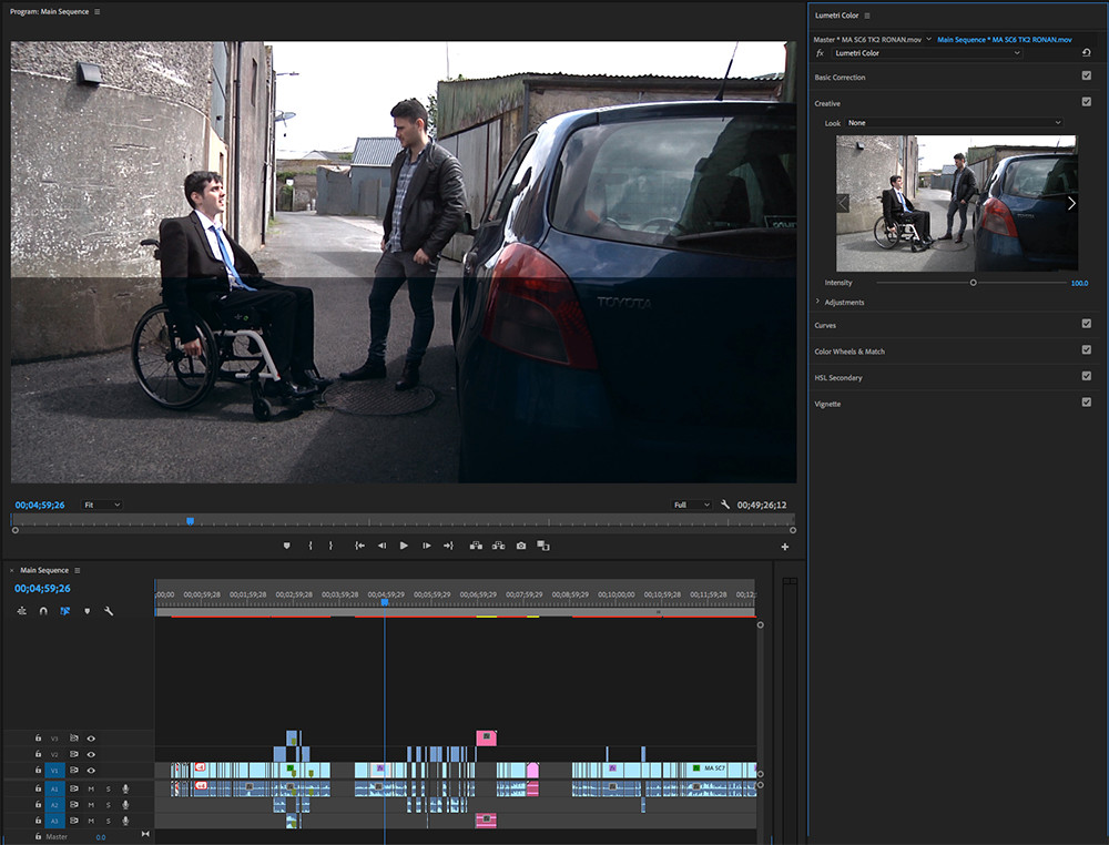 Screenshot from the colour grading process for Medicl Aid