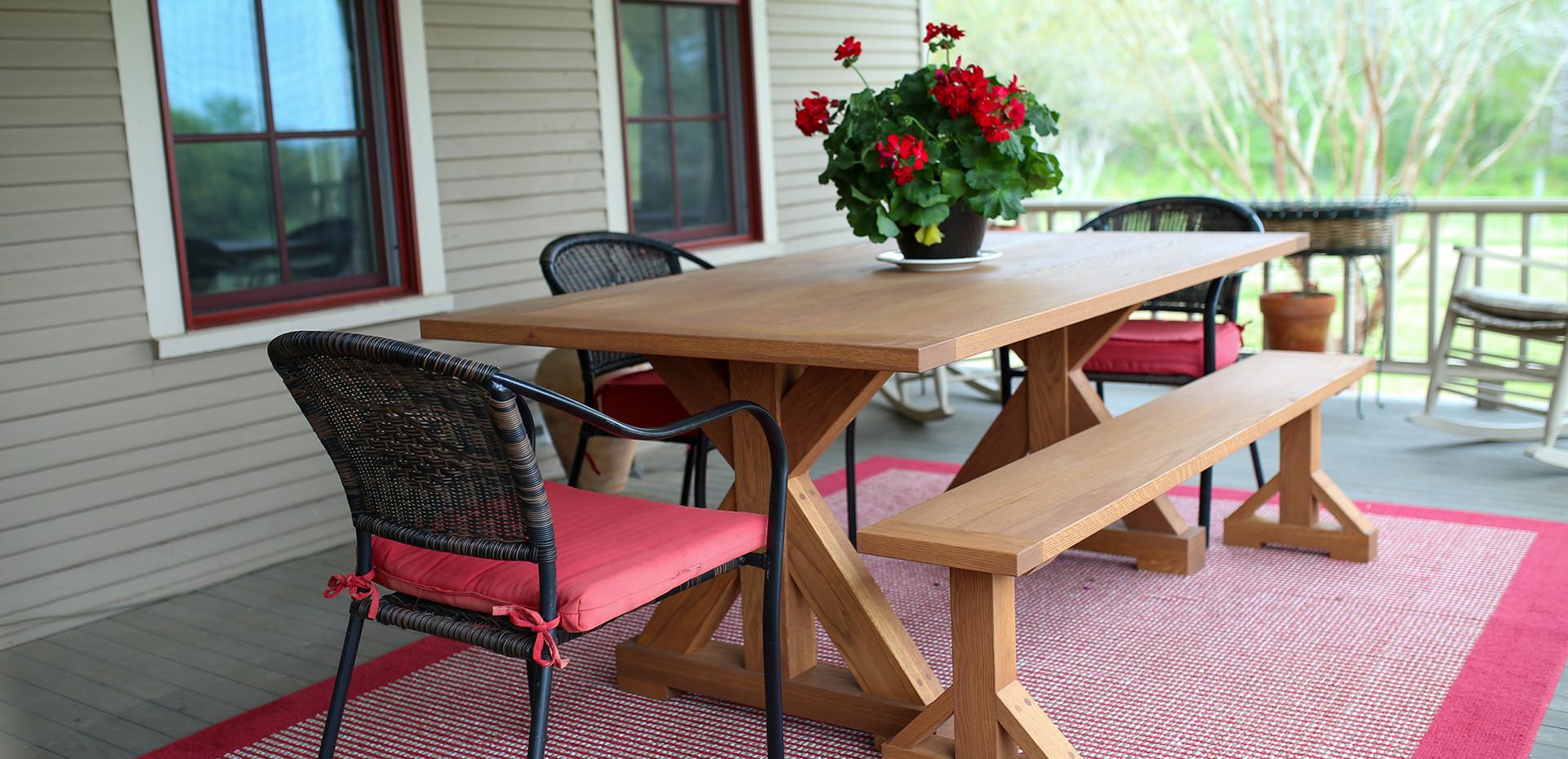 Trestle Patio Table & Bench