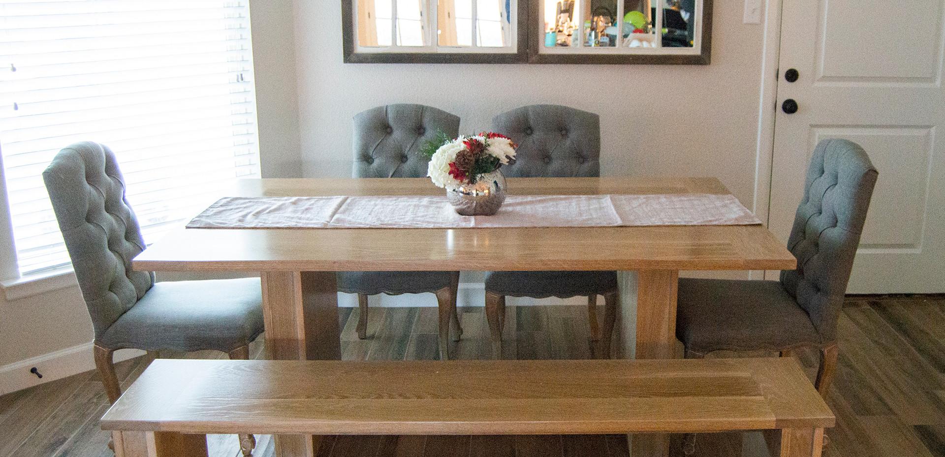 White Oak Table & Bench