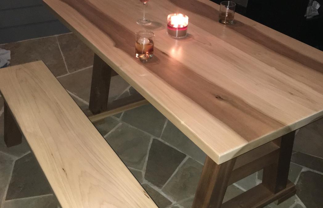 Poplar Patio Table & Bench