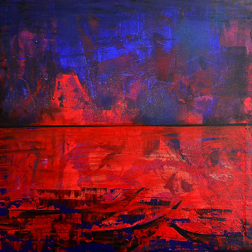 Banaras Abstract Print on Canvas / Size = 24x36 inch