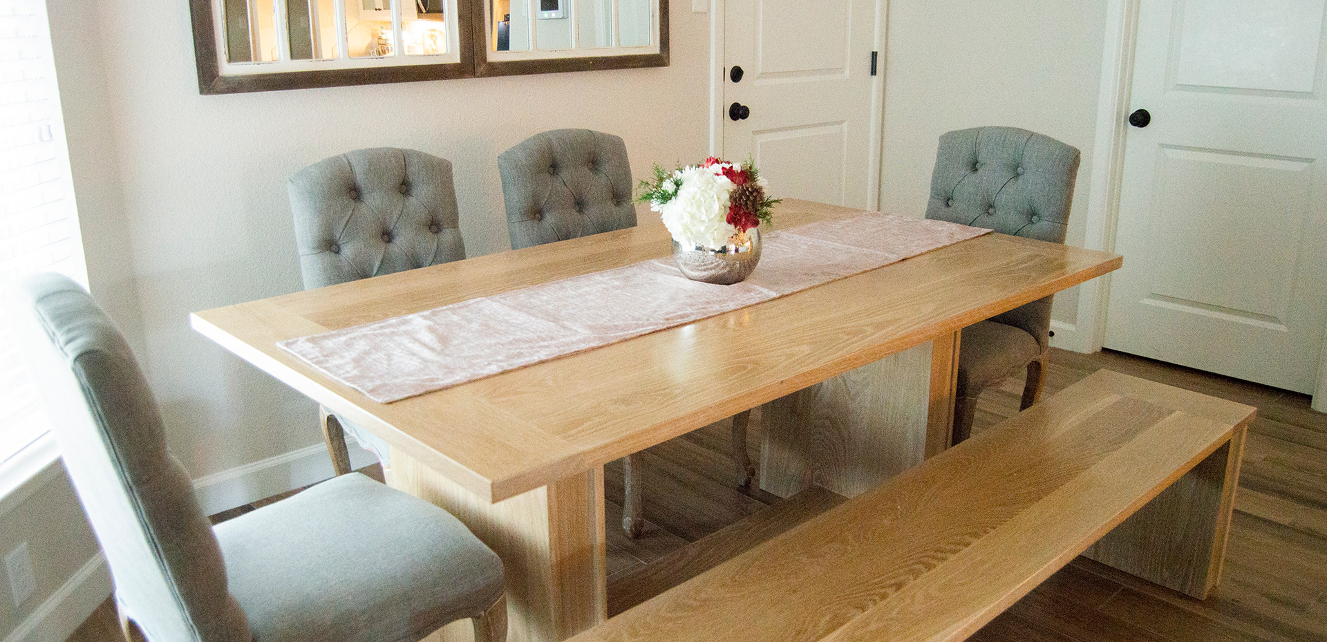 White Oak Dining Table & Bench