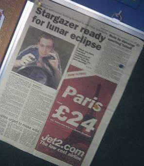 Stargazer Ready for Lunar Eclipse Old Newspaper Article Featuring Daniel Hall