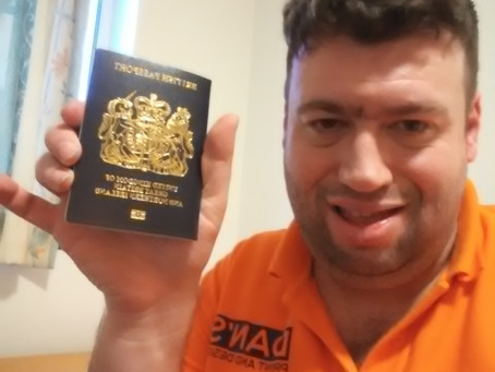 Daniel Hall with New UK Passport