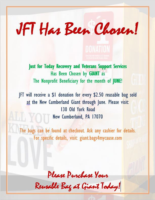 Buy a Reusable Bag at Giant in June and Donate to JFT at the Same Time