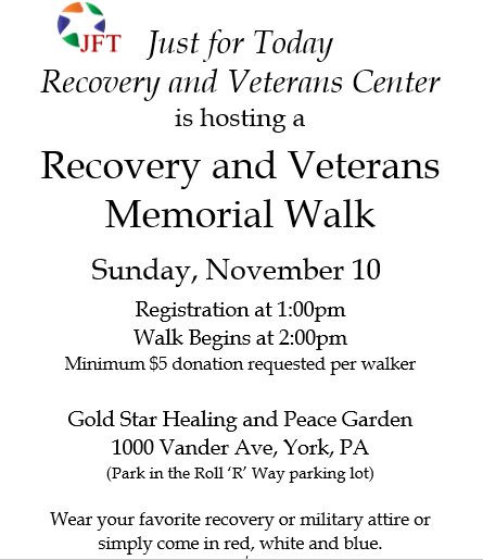 Recovery & Veterans Walk Saturday in York