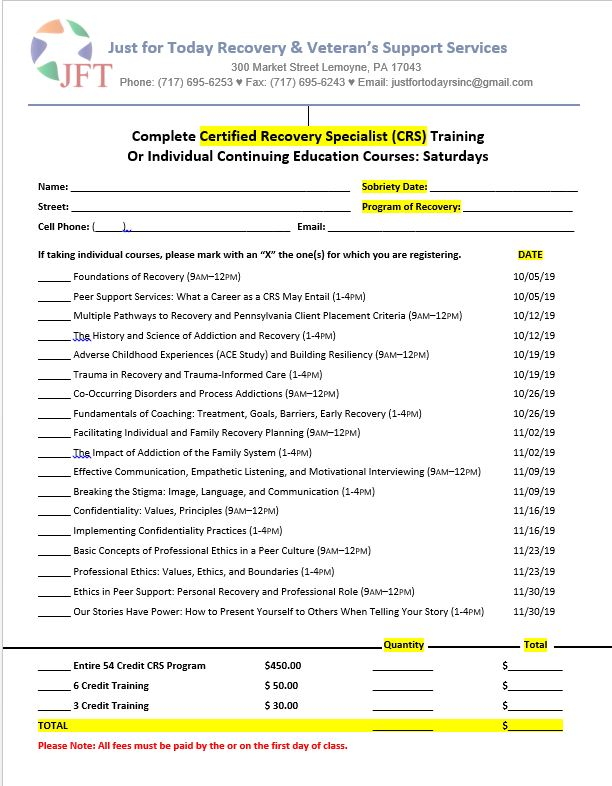 CRS Class Schedule