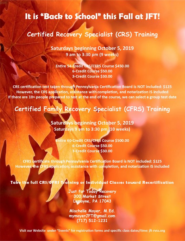 CRS and CFRS Training Begins in October; Sign-up Now; It is Going to be a Large Class