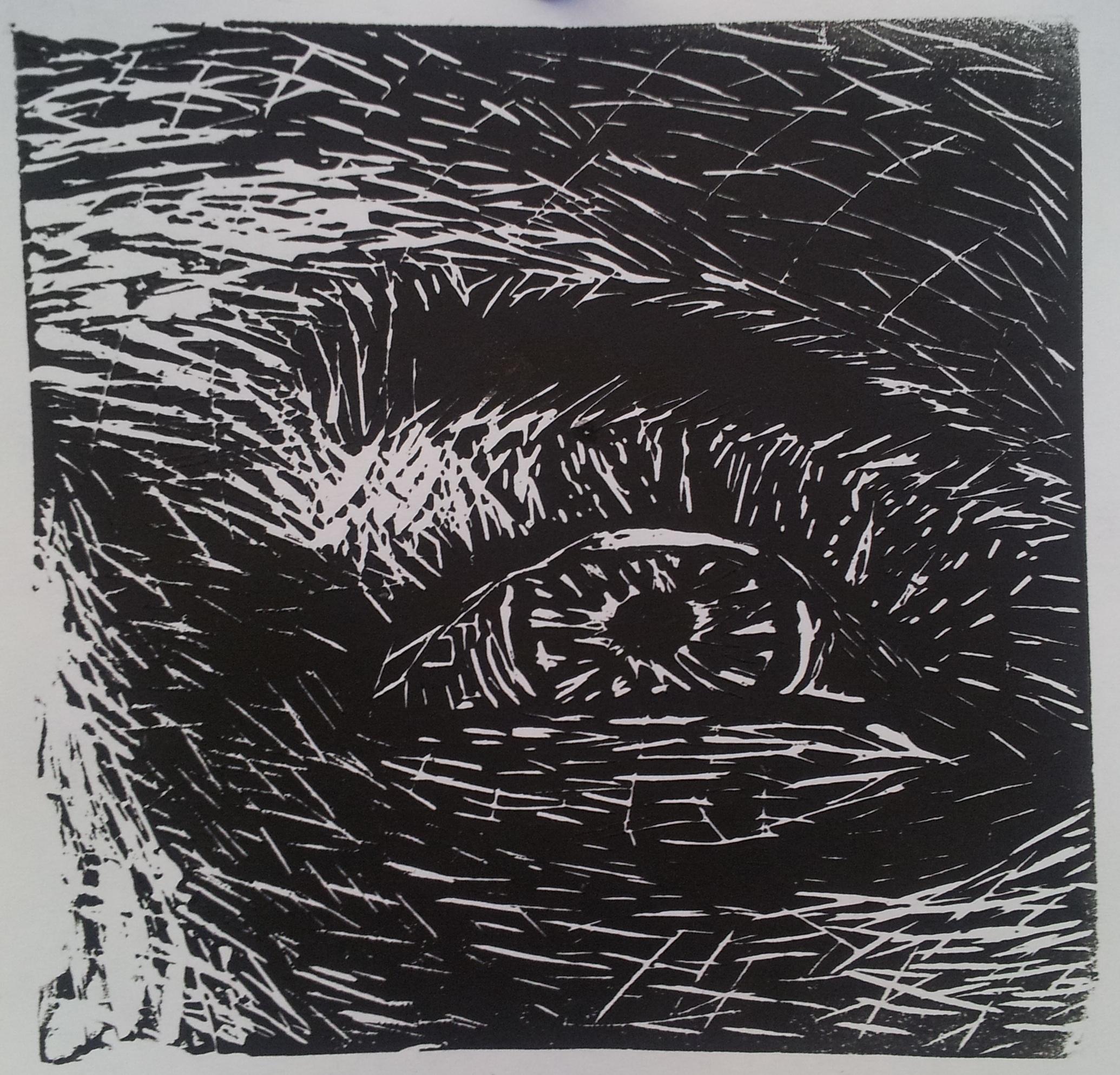Eye Linoleum Cut Print